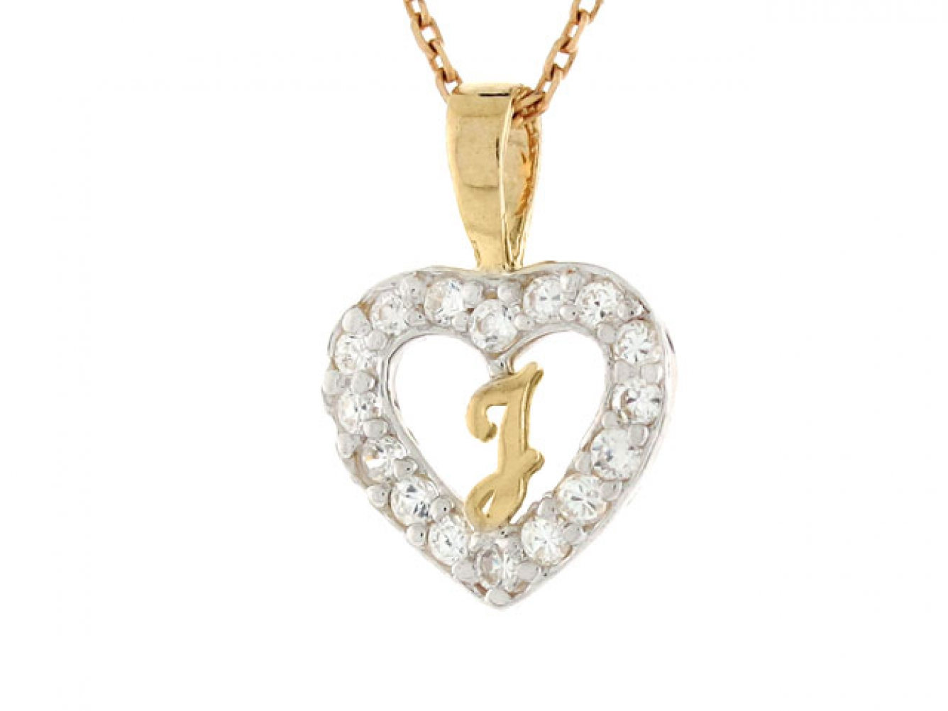 14K Yellow Gold Heart with Initial P Charm Pendant