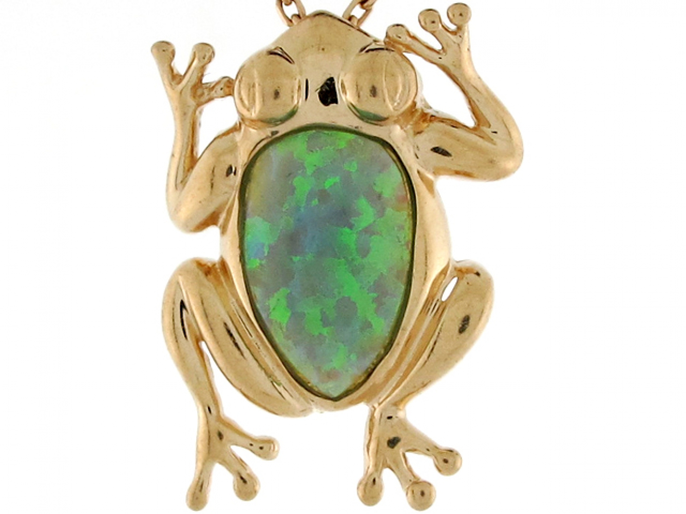 10k or 14k Yellow Real Gold Blue Green Simulated Opal Sea Shell Womens Pendant