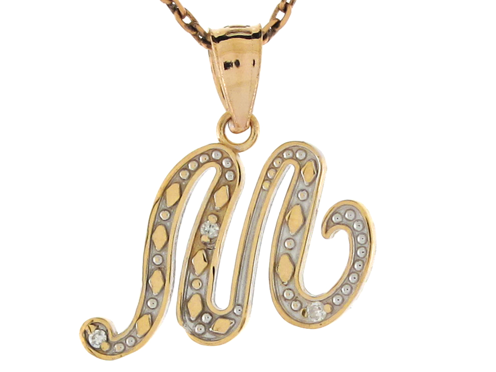 10k or 14k Yellow Gold Diamond Script Letter S Initial Pendant Charm