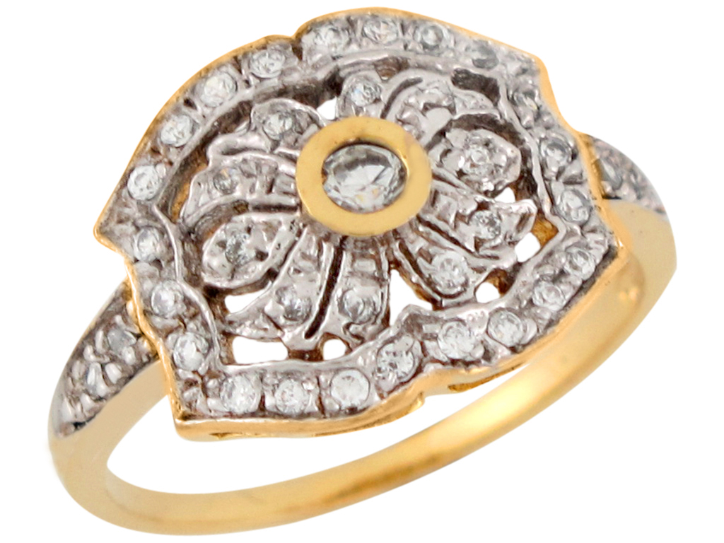 10k or 14k Two Tone Gold White CZ Cluster Radiant Ladies Ring