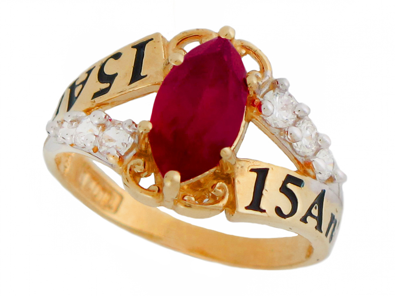 10k or 14k Gold Simulated Garnet CZ 15 Anos Quinceanera January Birthstone Ring