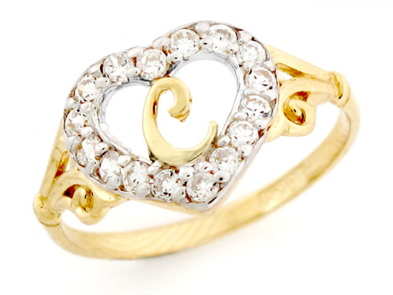 10k or 14k Gold Heart Shape Letter /'l/' Initial CZ Ring Jewelry