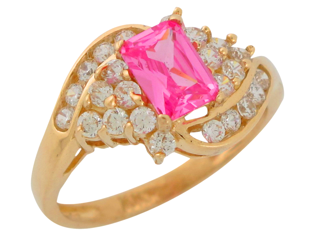 10k or 14k Yellow Gold Simulated October Birthstone Pink CZ Heart Baby Ring