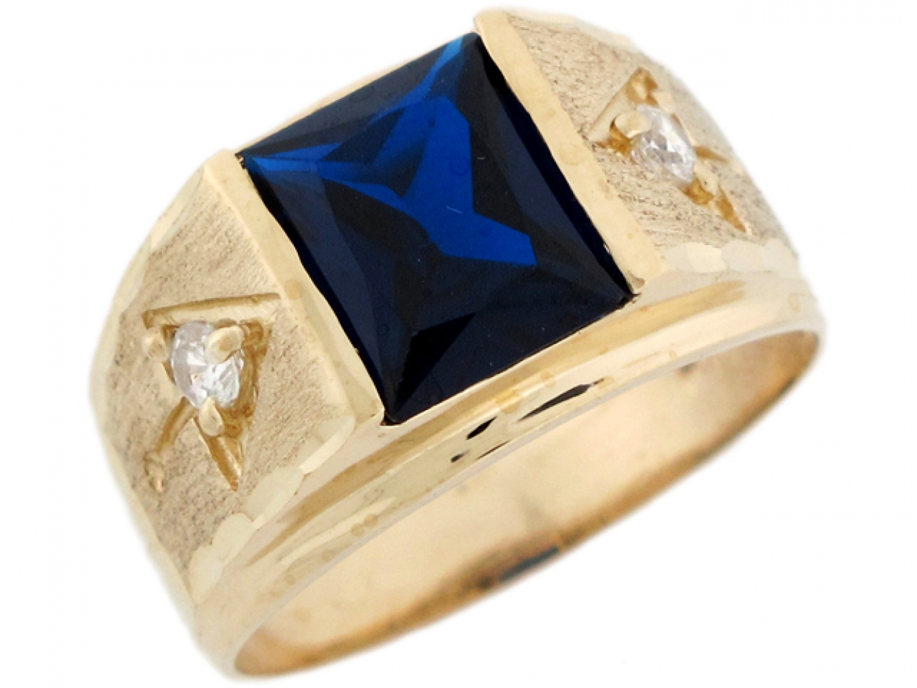 Details about  /10k or 14k Two-Tone Gold Simulated Blue Sapphire September Birthstone Pendant