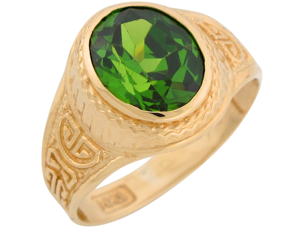 10k or 14k Yellow Gold Simulated Peridot August Birthstone Mens Wide Ring